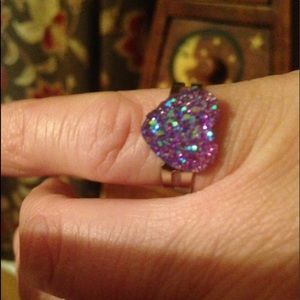 Purple Druze stone ring